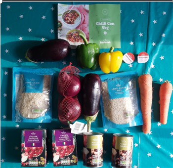 Food parcel delivered with fresh ingredients for a vegetarian chilli